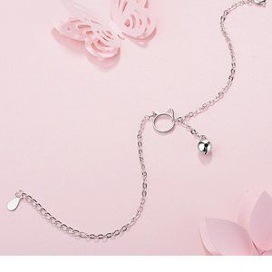 Jewelry - NEW 925 Sterling Silver Cat Bell Bracelet